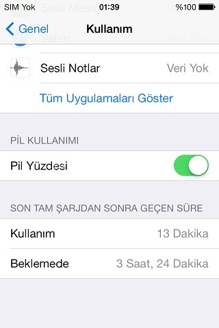 iphone 5s pil yüzdesi